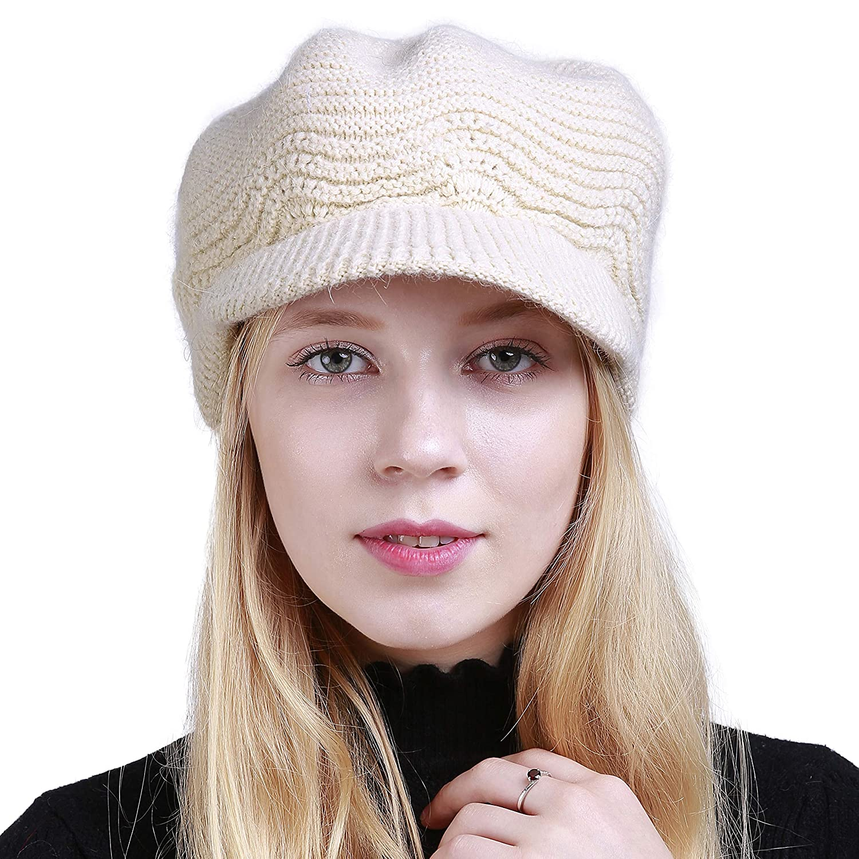 e0cf23dc763f1e Women's Winter Hat Slouchy Cable Knit Visor Crochet Beanie Hats Warm Snow  Ski Skull Cap with Brim Beige at Amazon Women's Clothing store: