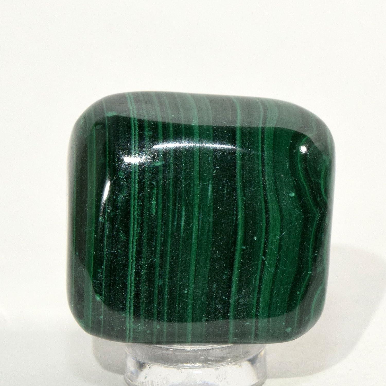 225カラットグリーンマラカイトCabochon Pebble天然BandedクリスタルCabストライプミネラルPolished Gemstone – Congo   B079P679B5