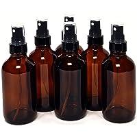 6, Amber, 4 oz Glass Bottles, with Black Fine Mist Sprayers