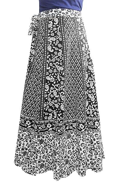 ca0b6ee9da Amazon.com: The StoreKing Cotton Floral Printed Black Warp Around Skirt  Casual Wear: Clothing