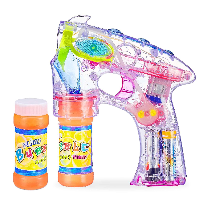 5 x Seifenblasenpistole mit LED Seifenblasen Fisch Bubble Gun Batterie gratis