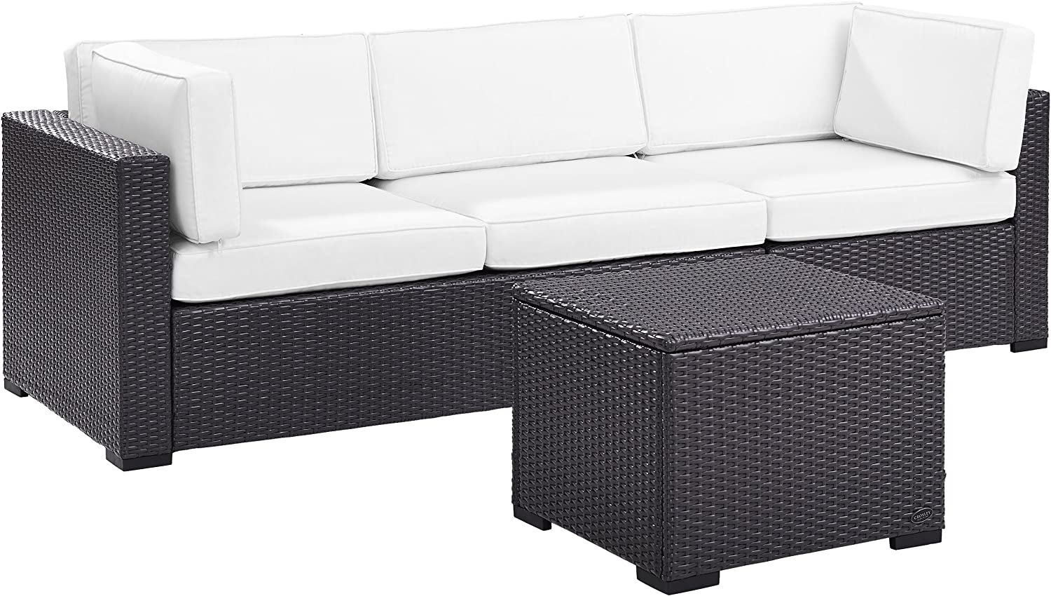 Crosley Furniture KO70111BR-WH Biscayne 3-Piece Outdoor Wicker Seating Set, Brown with White Cushions
