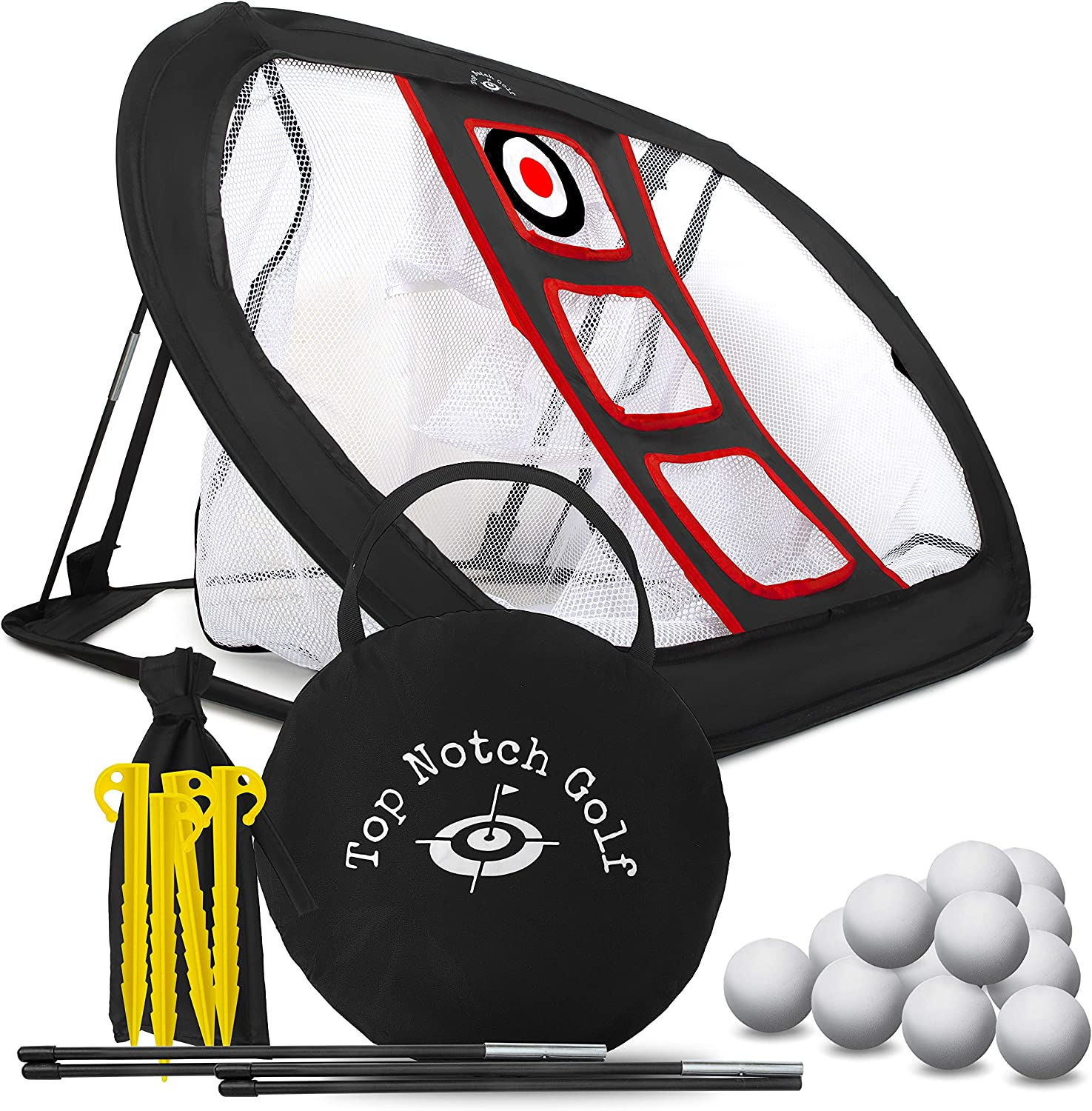 Golf Chipping Net with 12 Foam Practice Balls – Collapsible Golfing Target for Indoor Outdoor Use – Portable Training Aid to Practice in Backyard or Office Improve Accuracy and Challenge Friends