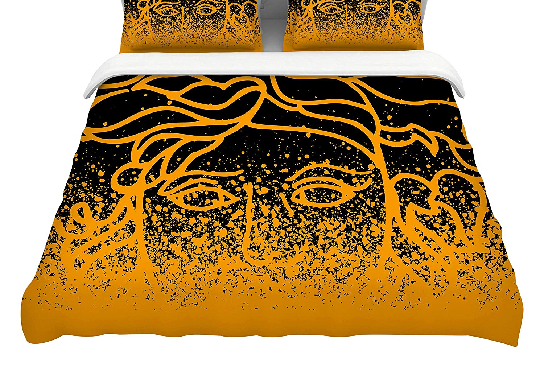 104 x 88 104 x 88 Kess InHouse Just L Versus Spray Blk Gld King Cotton Duvet Cover
