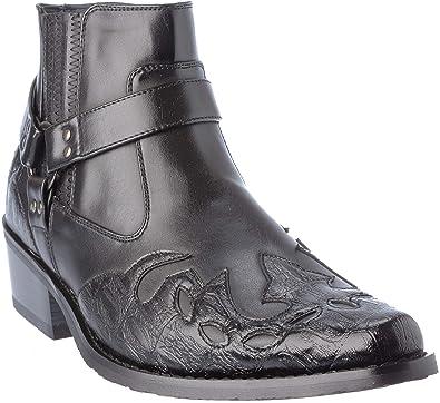 c04da52a6f8 western11 Mens Western Style Cow-Boy Boots PU-Leather Black Dress-Shoes Size