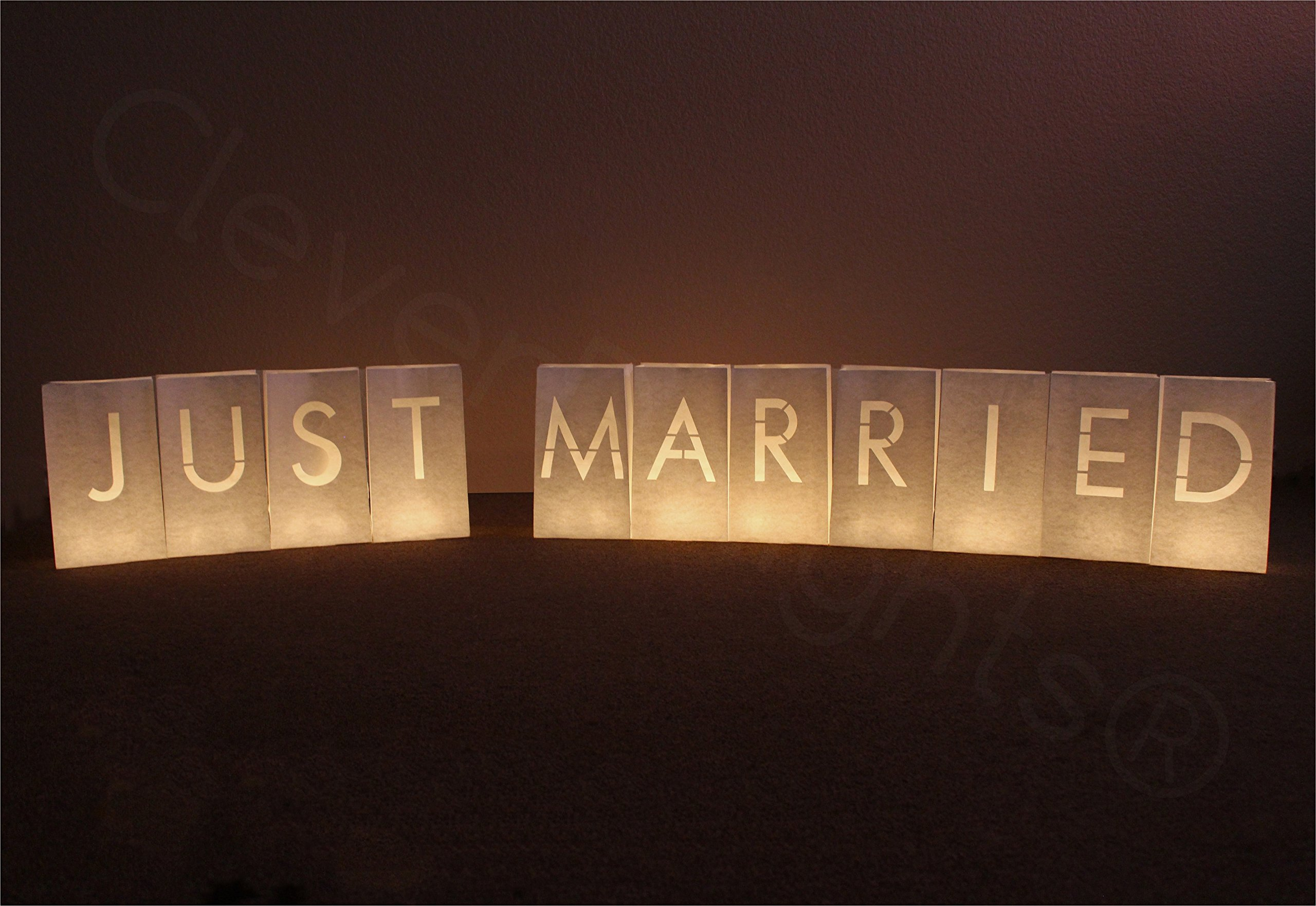 CleverDelights White Luminary Bags - Just Married - 22 Bags (2 Full Sets) - Flame Resistant Candle Bag by CleverDelights