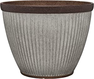 """Southern Patio HDR-046868 20.5"""" Rustic Resin Faux Galvanized Round Planter"""