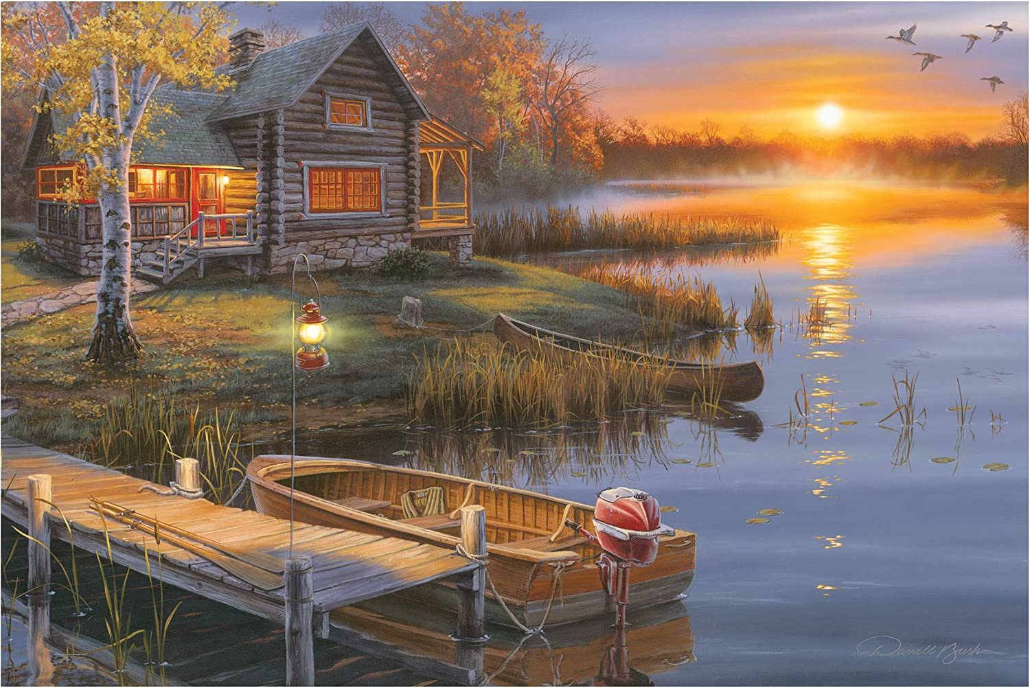 River's Edge Products LED Art 24in x 16in - Lake Cabin
