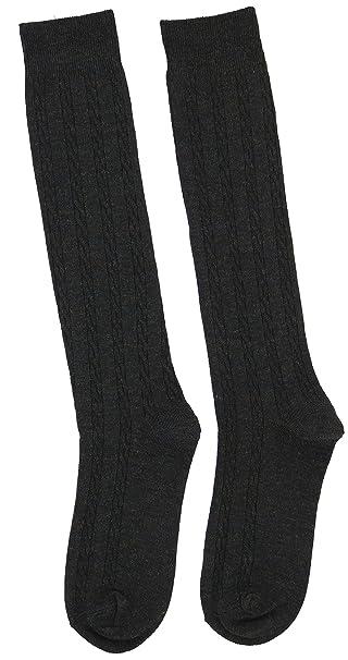8f1b34a9d41 SuperPrima Women s 70% Cotton Classic Cable Knit Knee High Socks (Black  Heather)