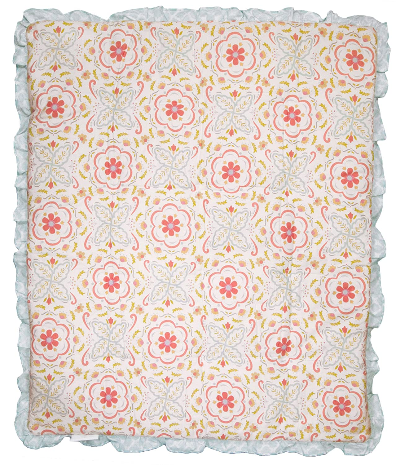 Mila Coral and Blue Floral Patchwork 4 Piece Baby Girl Crib Bedding by Peanut Shell