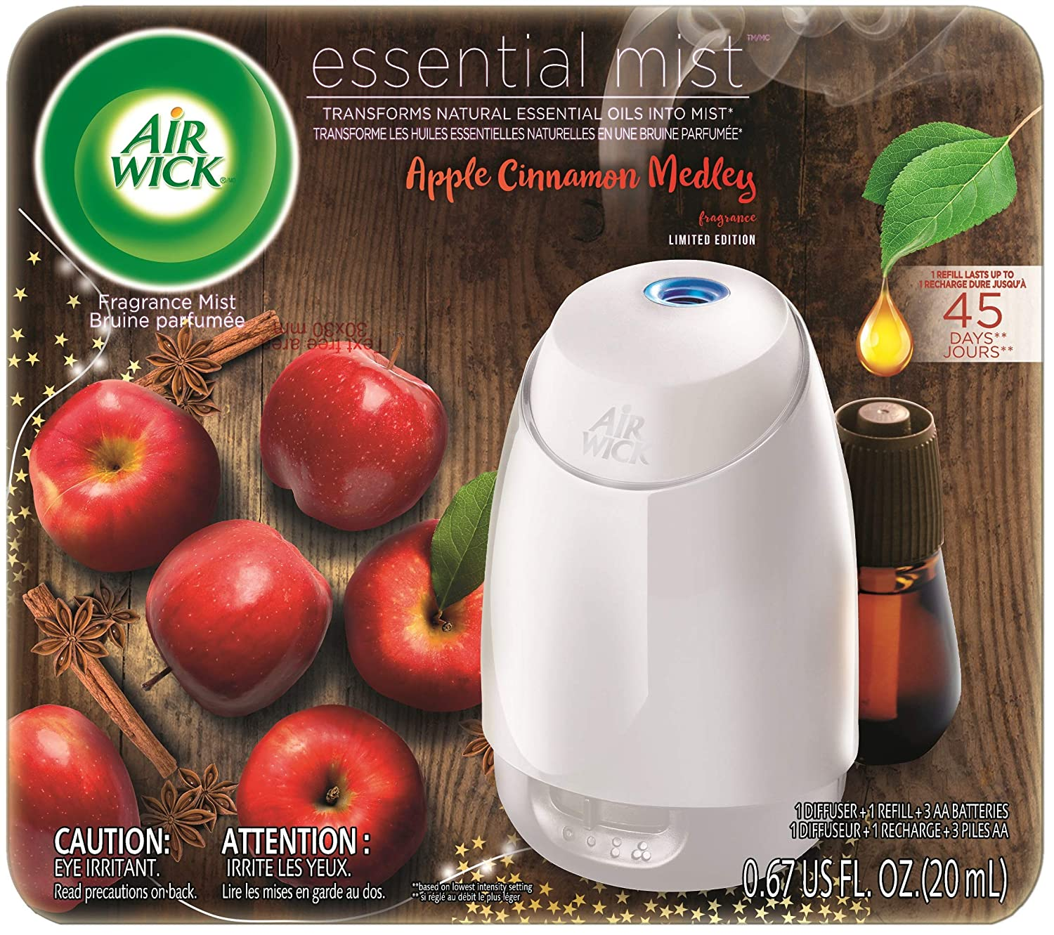 Air Wick Essential Mist, Essential Oil Diffuser, (Diffuser + 1 Refill), Apple Cinnamon Medley, Fall Decor, Air Freshener