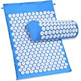 ACEVIVI Back Neck Acupressure Spike Yoga Mat Pillow Set / Bed of Nails for Massage / Wellness / Relaxation and tension release (Blue)