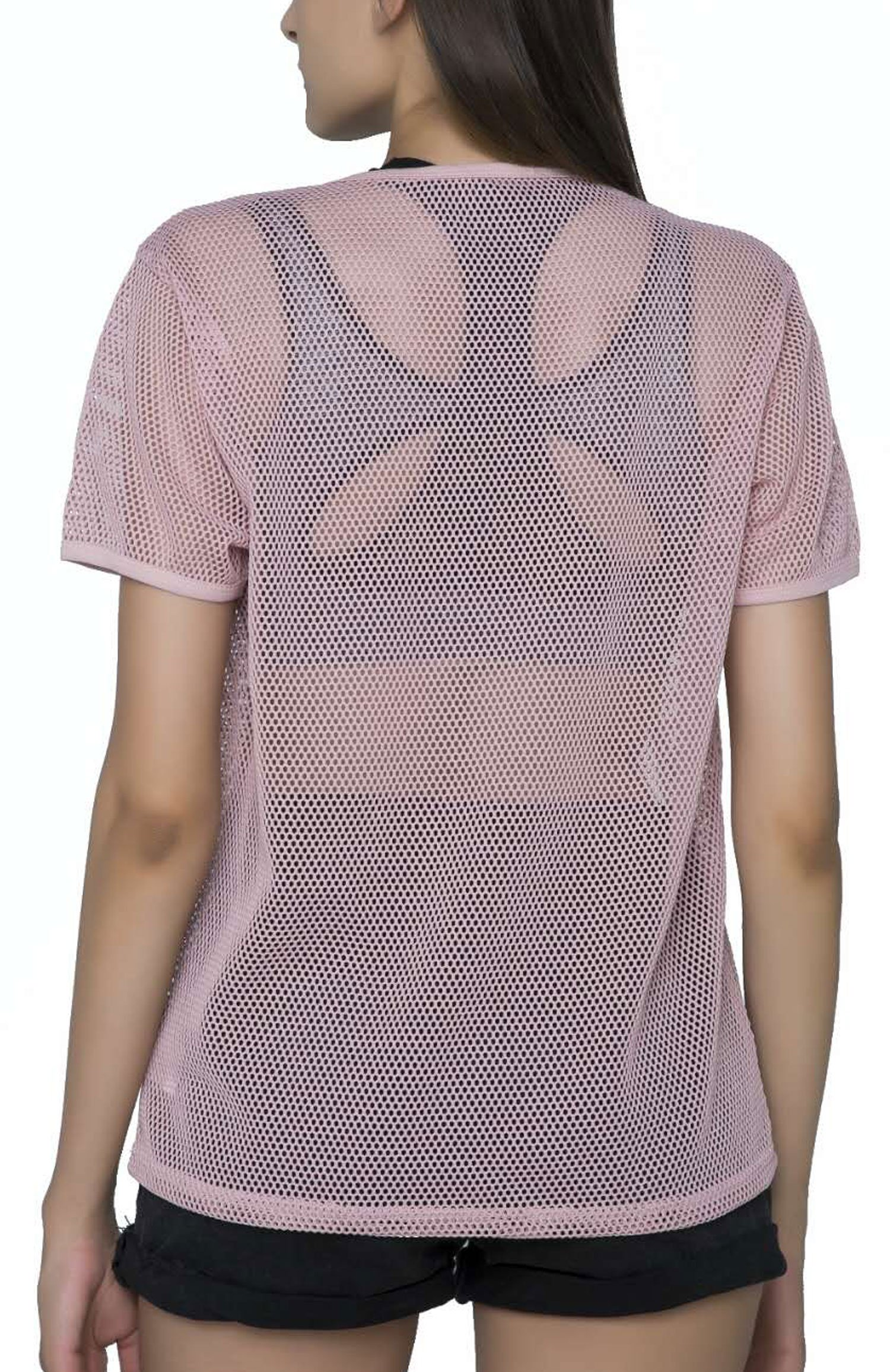 SPECIALMAGIC Fashion Short Sleeve See Through Sheer Mesh T Shirt Top Pink S