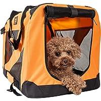 PET LIFE '360° Vista View' Zippered Soft Folding Collapsible Durable Metal Framed Pet Dog Crate House Carrier, Medium, Orange