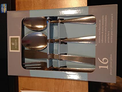 Amazon.com | GIBSON HOME 16 PIECE STAINLESS STEEL FLATWARE ...