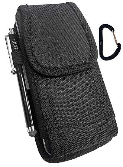 online store 2dc09 4c244 WSQ Samsung Galaxy S9, S9+ Plus Pouch Case Holster, Canvas Nylon Pouch Case  Metal Belt Clip Pouch (Fits With Slim Hybrid Protective Skin Cover Case Or  ...