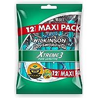 Wilkinson - Xtreme 3 Pure Sensitive - Rasoirs jetables masculins - Pack de 12