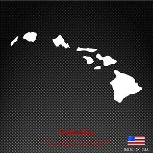 "Hawaiian Islands Map Vinyl Decal - Hawaii Sticker Window Laptop car Bumper HI 6.5""x3.5"" inches Color White"