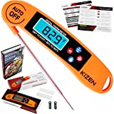 Kizen Digital Meat & Cooking Thermometer - Instant Read, Talking, Back Light, Collapsible Probe, Auto-off. Comes in Premium Gift Box, with eCookbook. For Food, Kitchen, BBQ, Grill! (Orange)
