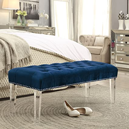 Superb Inspired Home Victoria Velvet Button Tufted With Silver Nail Head Trim Clear Acrylic Legs Ottoman Bench Navy Creativecarmelina Interior Chair Design Creativecarmelinacom