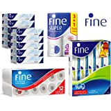 FINE Combo offer; Facial Tissue 100X2Ply Pack of 10, Kitchen Super Towel 4 Rolls, Toilet Extra Strong 12 Rolls, Facial Fluffy Pack of 10