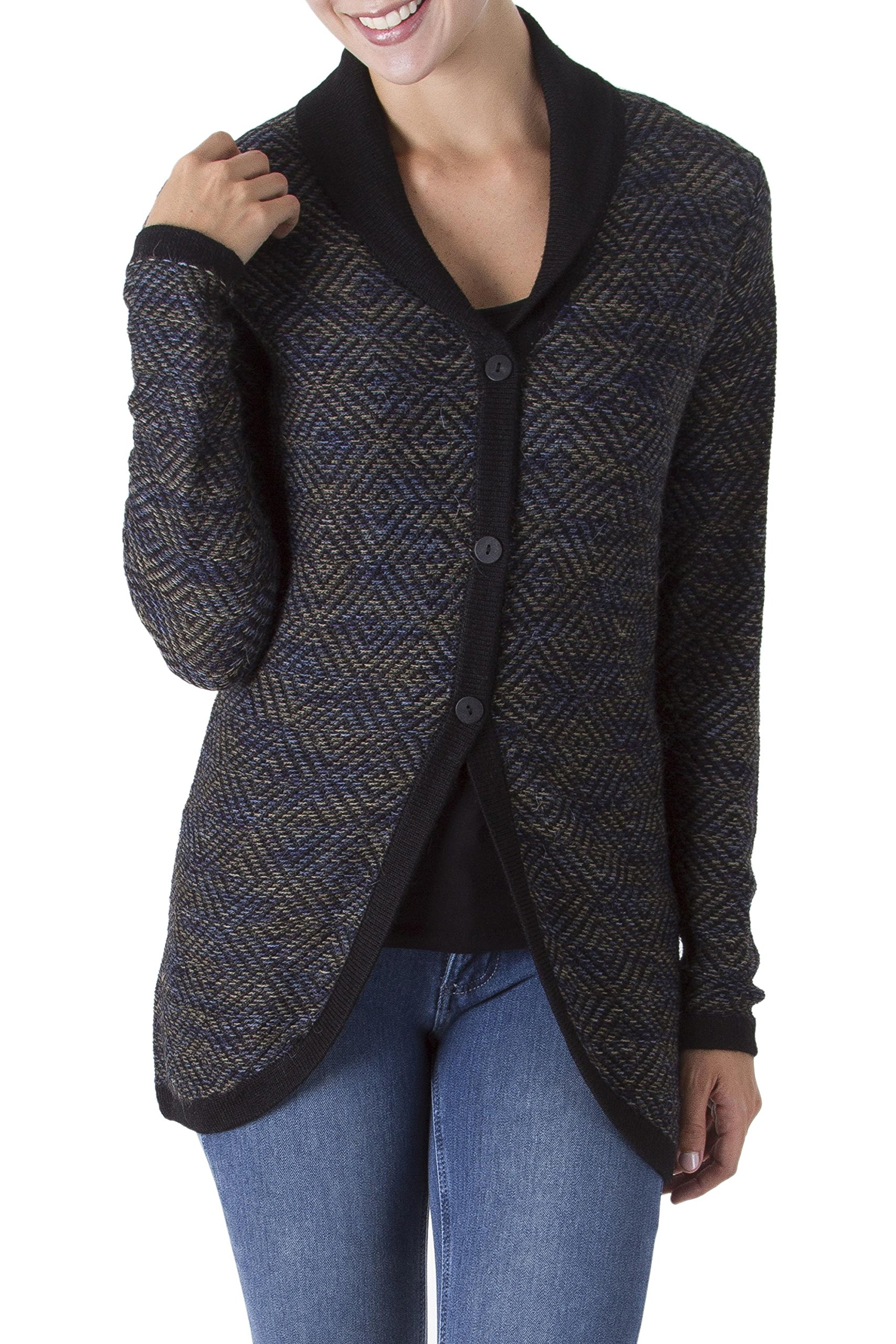 NOVICA Black And Gray 100% Alpaca Cardigan, 'Textured Andes In Black'