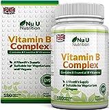 Vitamina B Complex - 180 Comprimidos (Suministro para 6 meses) - Contiene Ocho Vitaminas del grupo B por Comprimido: B1, B2, B3, B5, B6, B12, D-Biotina y Ácido Fólico - Complejo Vitamina B