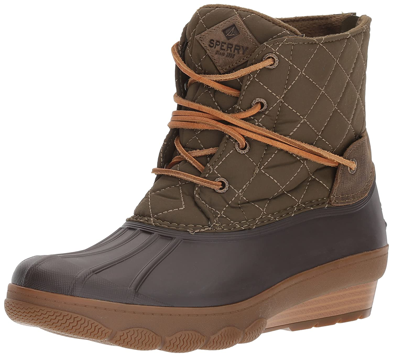 Sperry Top-Sider Women's Saltwater Wedge Tide Quilted Rain Boot B01N4G33W4 6 B(M) US Brown