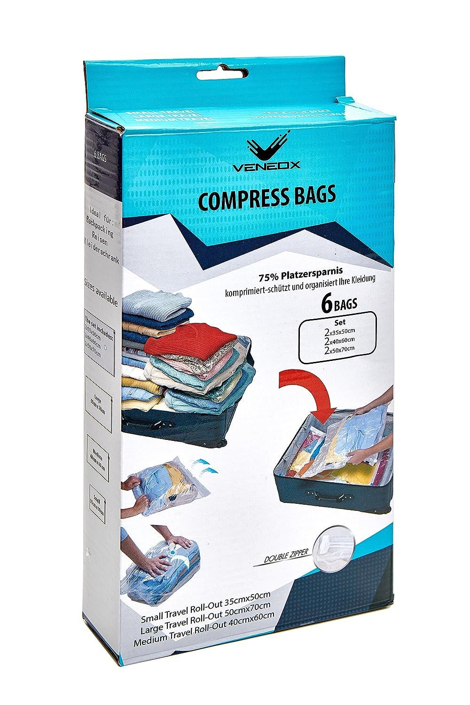 Compresión Bolsa Mochila Organizador Ropa Bolsa de viaje Bolsas para envasado al vacío la ropa de viaje, Backpacker Backpacking accesorios, Zip–Bolsa impermeable, Dry Bag, Juego de 6 Zip-Bolsa impermeable Veneox
