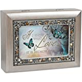 Love Because of You Brushed Pewter Finish Jeweled Jewelry Music Box Plays You Light Up My Life