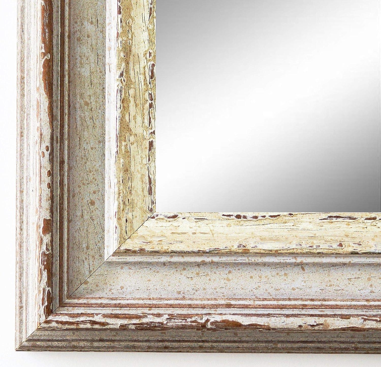 Spiegel Wandspiegel Badspiegel Flurspiegel Garderobenspiegel - Über 200 Größen - Trento Beige Silber 5,4 - Außenmaß des Spiegels 60 x 60 - Wunschmaße auf Anfrage - Antik, Barock