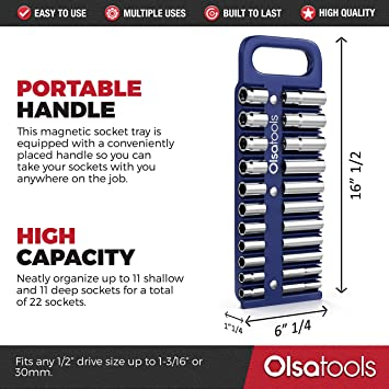 3//8-inch Drive Portable Magnetic Socket Organizer Tray by Olsa Tools Premium Quality Tool Organizer Blue for Deep /& Shallow Sockets Holds sockets up to 1 or 24 mm
