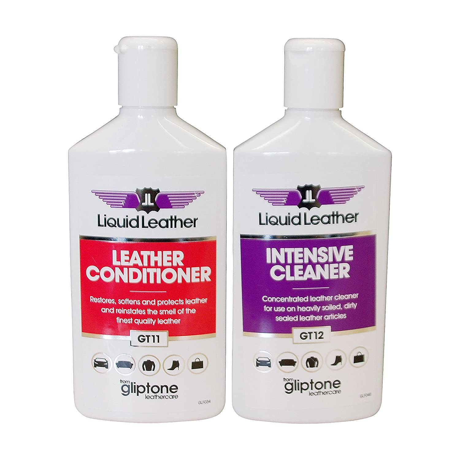 GT11+GT12 Liquid Leather Intensive Cleaner Plus Leather Conditioner 250ml Per Bottle Gliptone