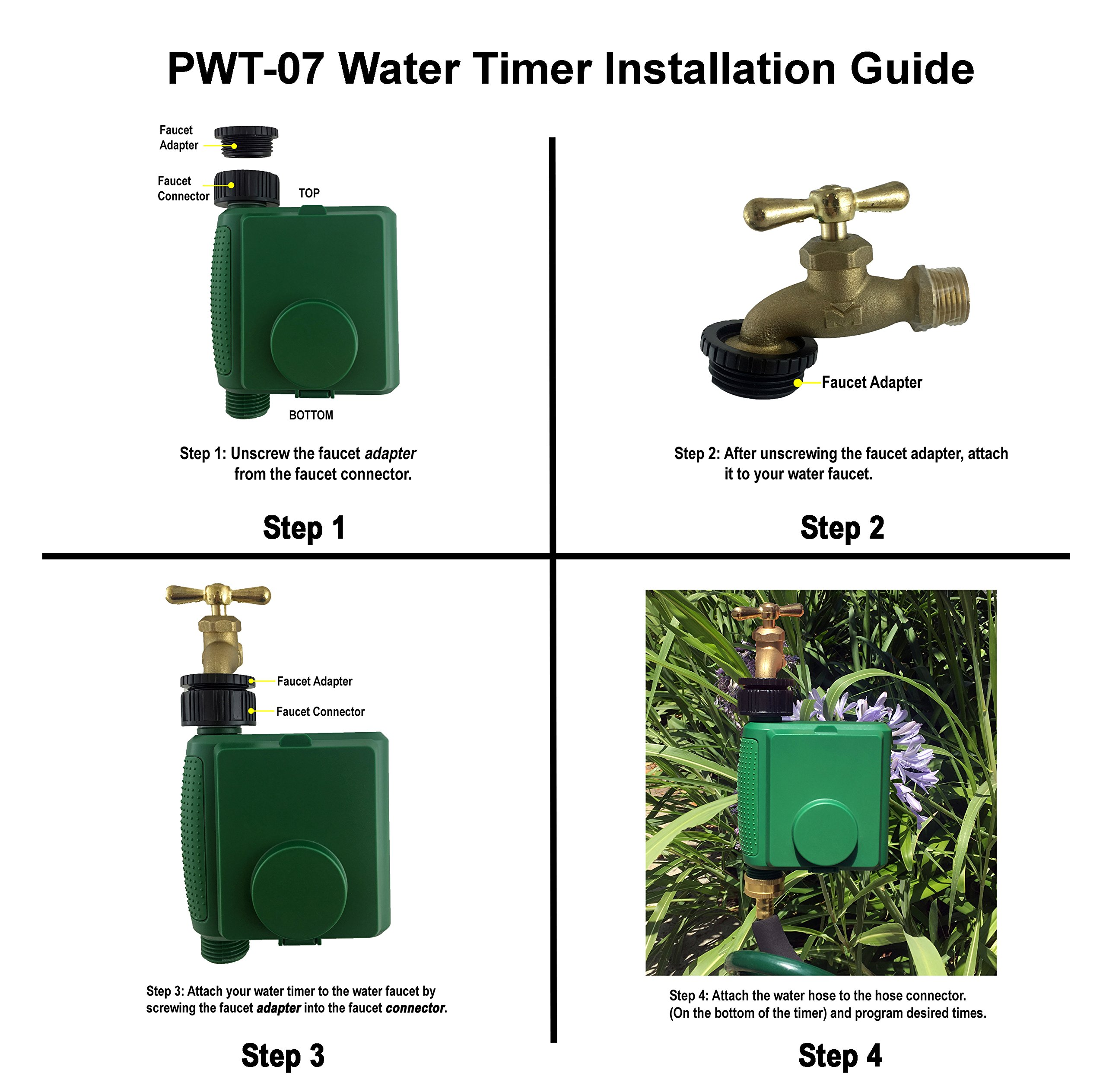 Instapark PWT-07 Outdoor Waterproof Digital Programmable Single Outlet Automatic On Off Water Faucet Hose Timer with Rain Delay and Manual Control by Instapark (Image #6)