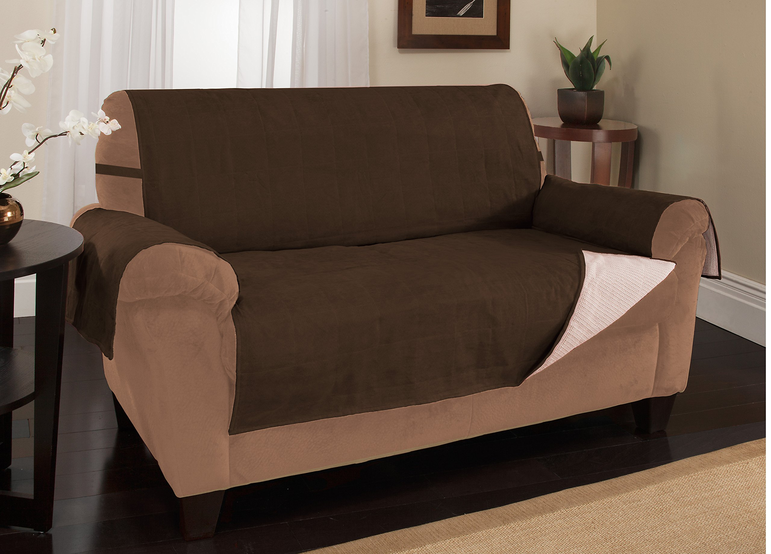Furniture Fresh - New and Improved Anti-Slip Grip Furniture Protector, Loveseat Cover, Slipcover, with Stay Put Straps and Water Resistant Microsuede Fabric (Loveseat, Chocolate)
