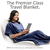 Travelrest 4-in-1 Premier Class Travel Blanket with Pocket - Covers Shoulders - Plush, Soft and Luxurious - Built-In Stuff Sack (Navy)
