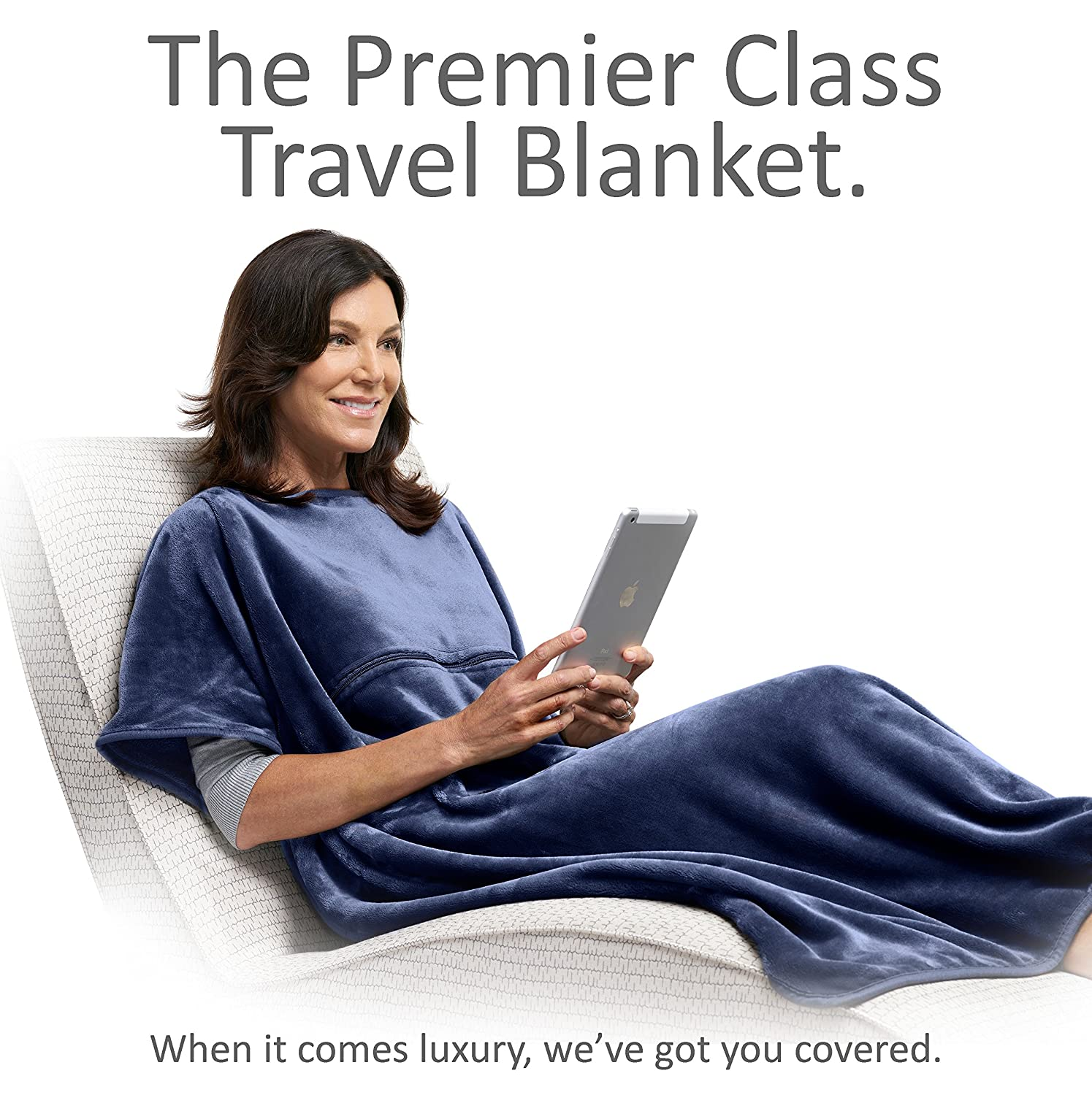 Travelrest 4-in-1 Premier Class Travel Blanket with Zipped Pocket - Soft & Luxurious - Also Use As Lumbar Support or Neck Pillow (Includes Stuff Sack) TB222NVY