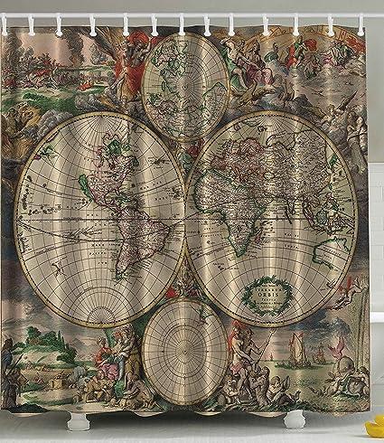 Amazon.com: Shower Curtain Antiques Old World Map Globe Art Lounge ...