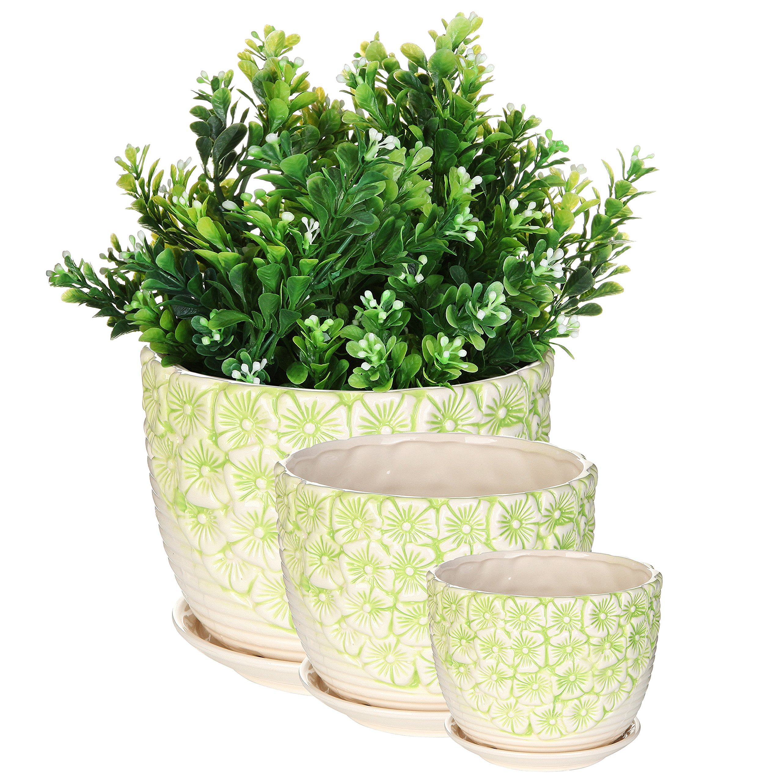 MyGift Set of 3 Green & White Flower Design Nesting Ceramic Planter Pots/Plant Containers w/Attached Saucers by MyGift