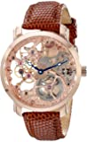 "Akribos Automatic Skeleton Mechanical Men's Watch -""Bravura Davinci"" Embossed Lizard Leather Pattern Strap - See Through…"
