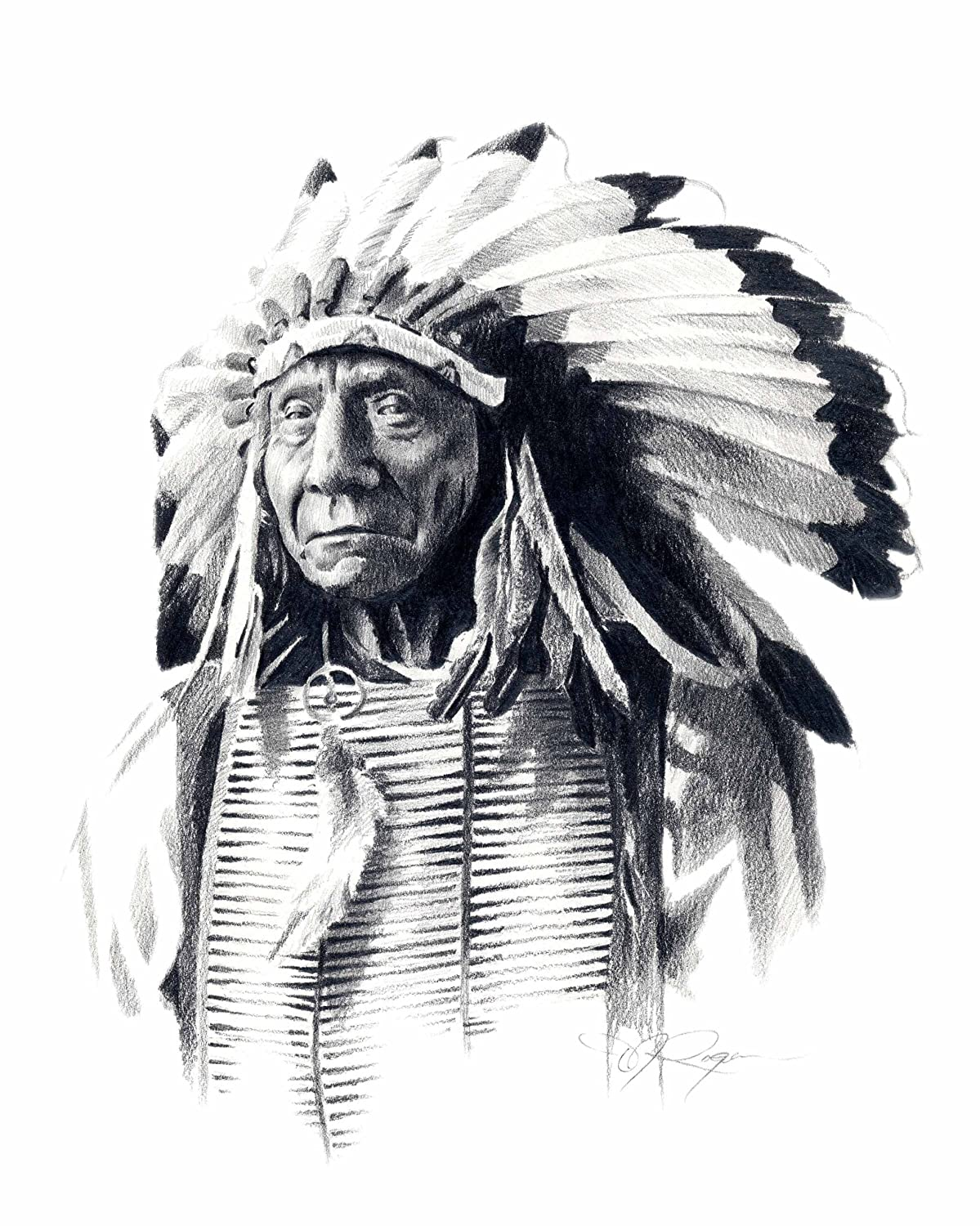 Amazon com chief red cloud pencil drawing american indian art print by artist d posters prints