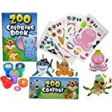 12 Animal Coloring Books and Crayons, 12 Jungle Zoo Stampers, 12 Sea Fish Stickers, Party Favor Set (1 Dozen of Each ) By Fun Land