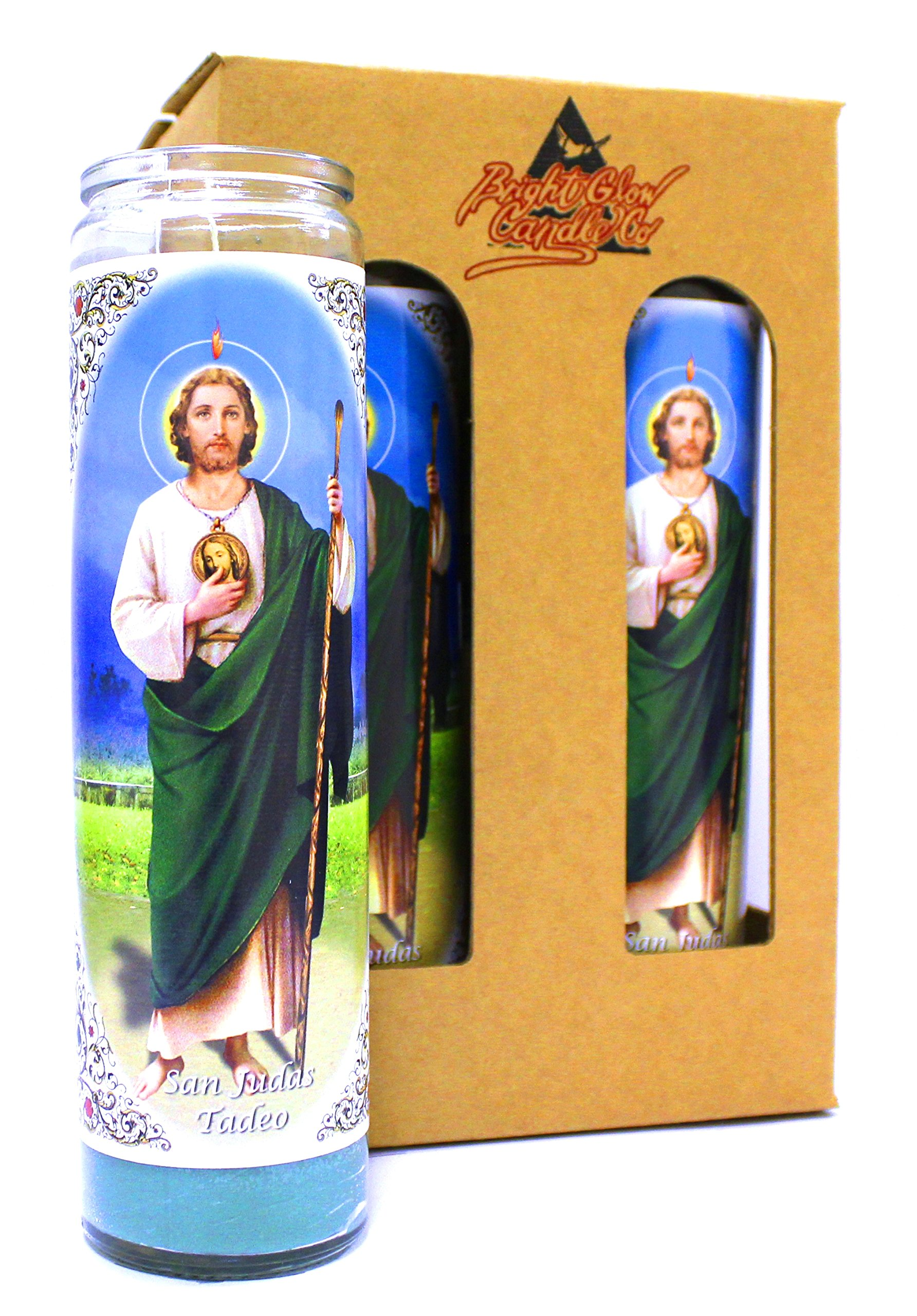 4-Pack St. Jude Thaddeus | 8'' Tall Unscented Religious Prayer Candles | Devotional | San Judas Tadeo Novena Vigil Candle in Glass Jar, Green Wax | Best Catholic/Christian Gift Idea or Mantle Piece