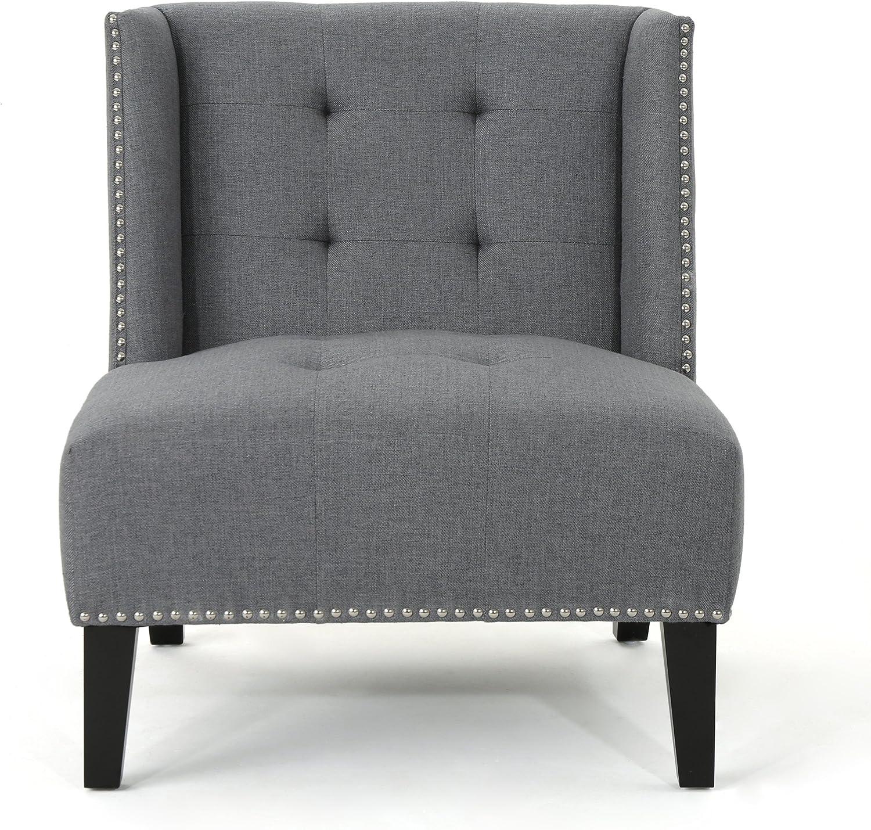 Christopher Knight Home Takara Tufted Wingback Fabric Slipper Chair, Dark Grey / Dark Brown