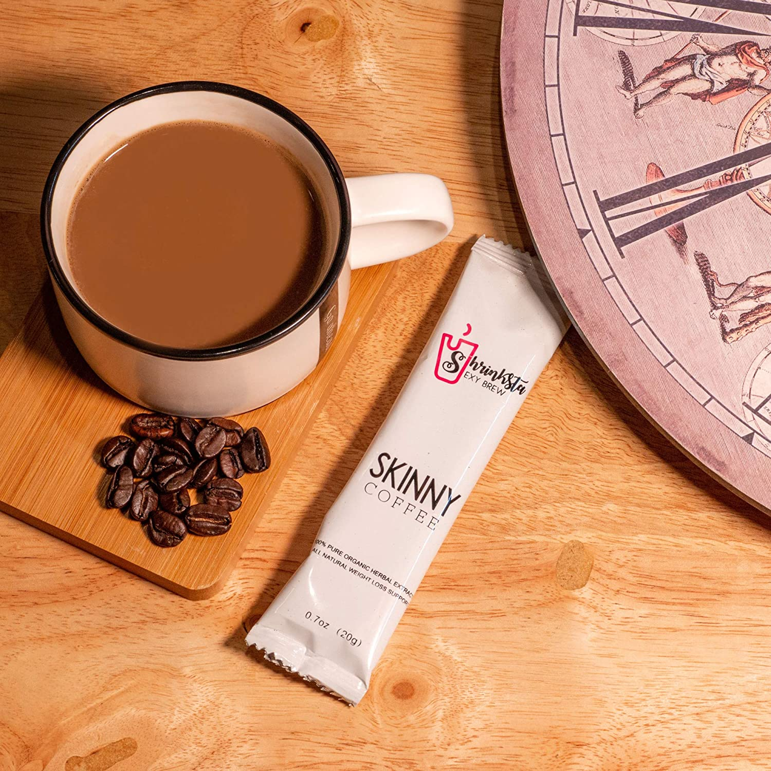 Shrinksta Organic Slimming Weightloss Coffee - All Natural, Vegan Latte, Sugar Free   Perfect On-The-Go Support For The Busy, Health-Conscious   20 Packets a Box, 3 Flavors Available