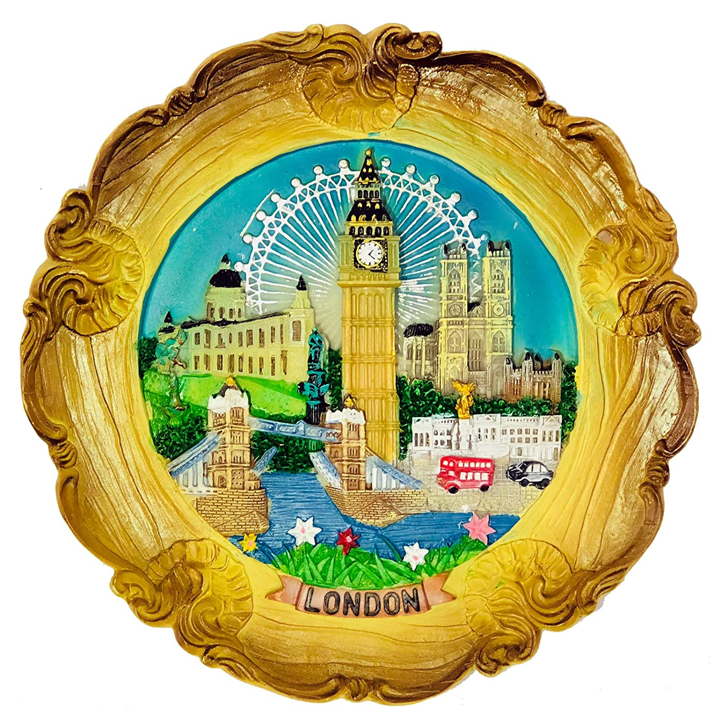 Wood Style Decorative Plate Detailing London Skyline: Big Ben, Tower ...