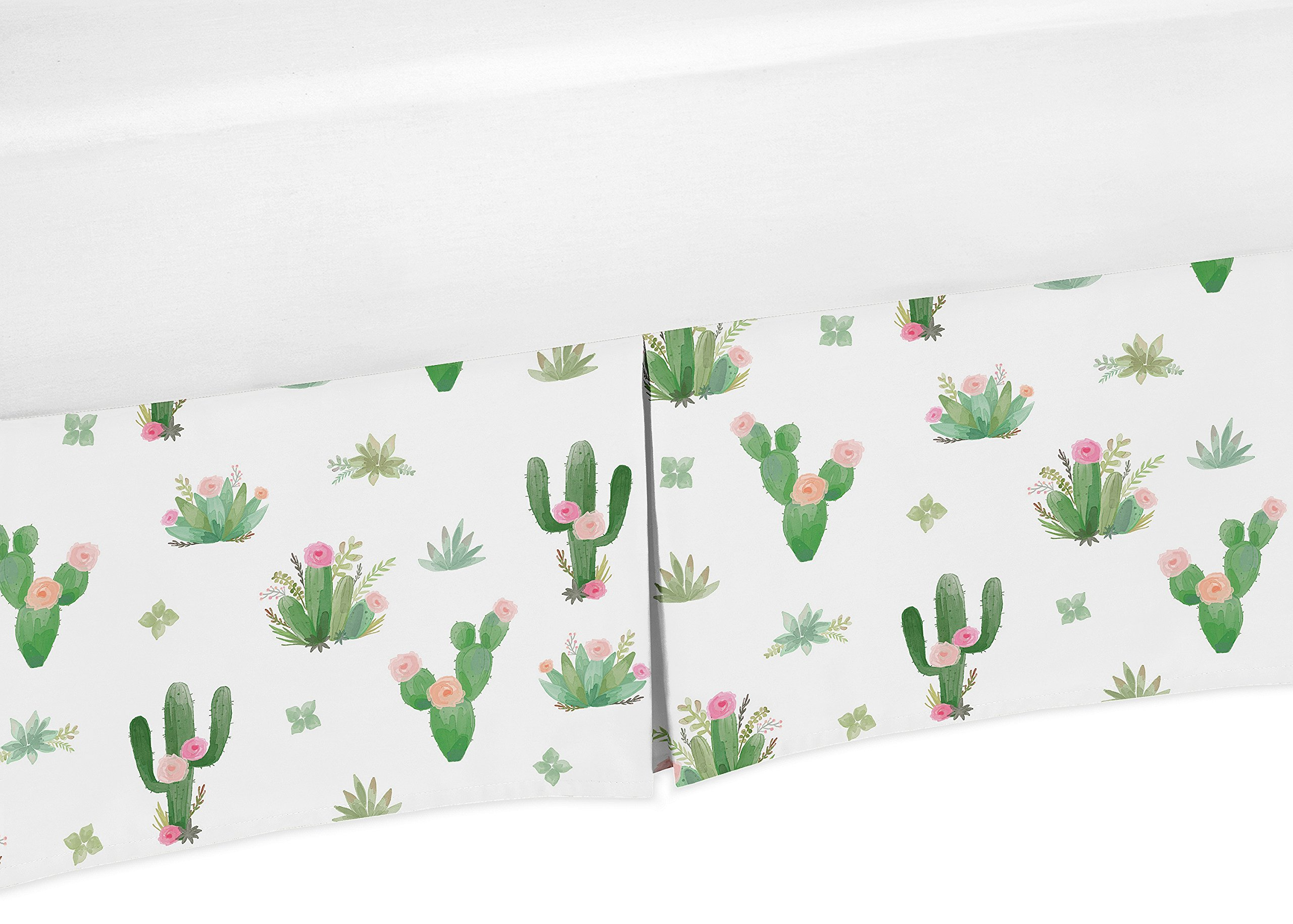 Pink Green Boho Baby Girl Pleated Crib Bed Skirt Dust Ruffle for Cactus Floral Watercolor Collection by Sweet Jojo Designs