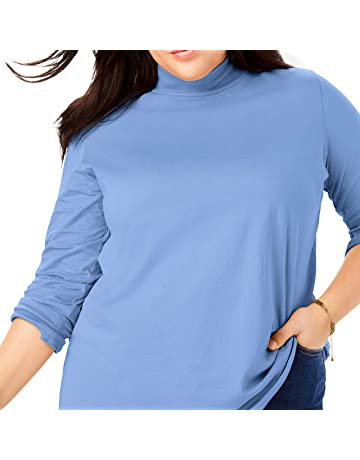 5e9edf217f141 Woman Within Women s Plus Size Petite Perfect Long Sleeve Mock Turtleneck