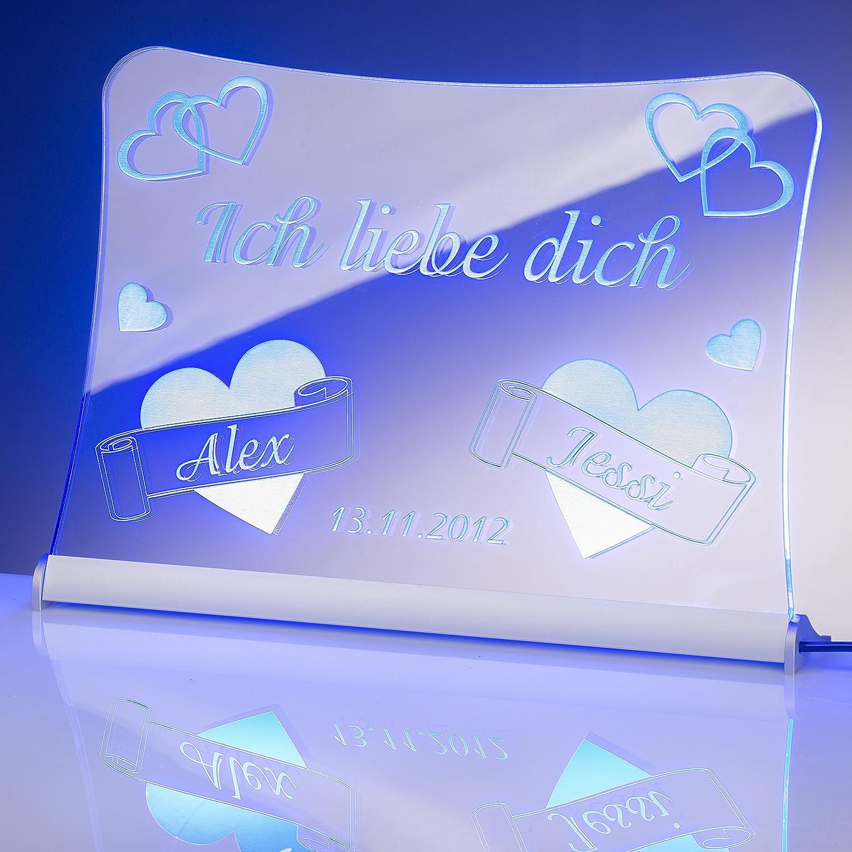 mit pers/önlicher Laser Gravur 20x15 cm rot LED Acrylglas SchildIch liebe dich