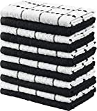 Utopia Towels Kitchen Towels, 15 x 25 Inches, 100% Ring Spun Cotton Super Soft and Absorbent Black Dish Towels, Tea…